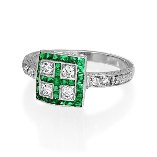 emerald ring 1.26ct. set with diamond in vintage ring smallest Image