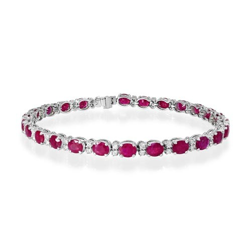 ruby bracelet 9.18ct. set with diamond in line bracelet smallest Image