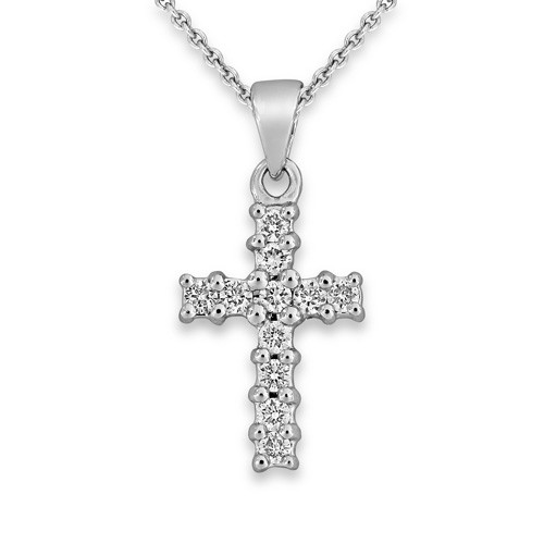 0.11ct. diamond pendant set with diamond in cross pendant smallest Image
