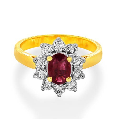 ruby ring 0.79ct. set with diamond in cluster ring smallest Image