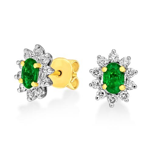 emerald earrings 0.84ct. set with diamond in cluster earrings smallest Image