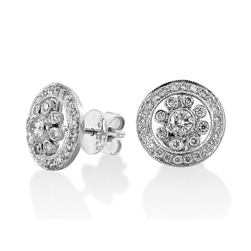 0.8ct. diamond earrings set with diamond in cluster earrings smallest Image
