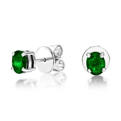 0.64ct. emerald earrings set in solitaire earrings smallest Image