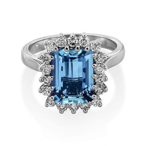 aquamarine ring 3ct. set with diamond in cluster ring smallest Image