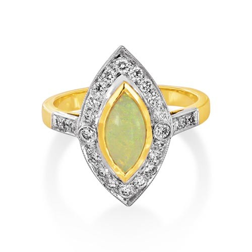 opal ring 0.5ct. set with diamond in cluster ring smallest Image