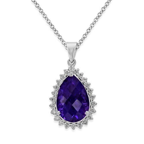 amethyst pendant 5.8ct. set with diamond in cluster pendant smallest Image