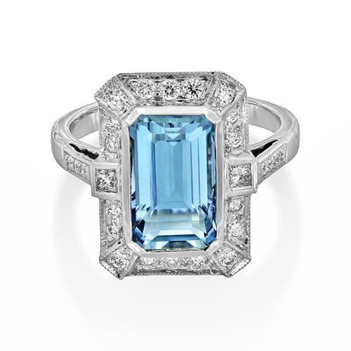 aquamarine ring 2.86ct. set with diamond in vintage ring smallest Image