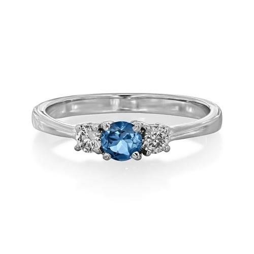 aquamarine ring 0.22ct. set with diamond in three stone ring smallest Image
