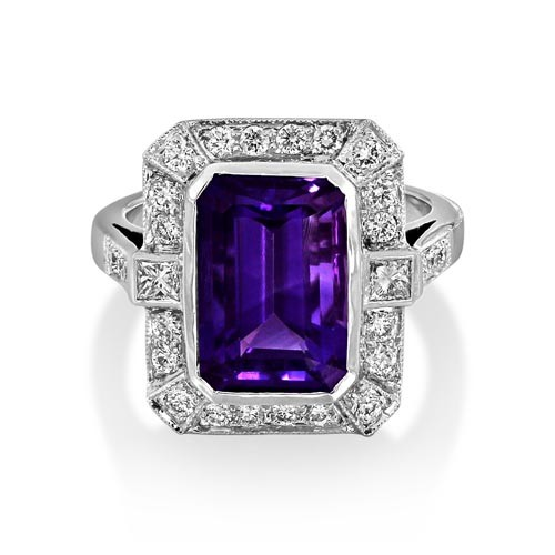 amethyst ring 4.11ct. set with diamond in vintage ring smallest Image