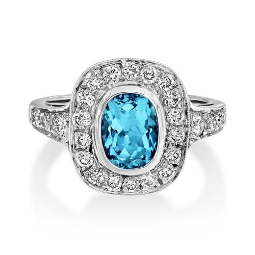 aquamarine ring 1.25ct. set with diamond in cluster ring smallest Image
