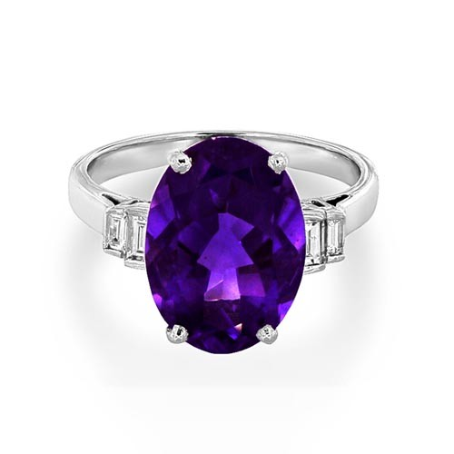 amethyst ring 5.22ct. set with diamond in five stone ring smallest Image