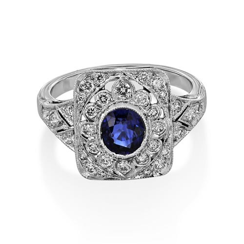 sapphire ring 1.08ct. set with diamond in vintage ring smallest Image