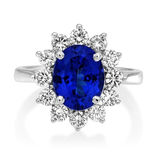 tanzanite ring 2.83ct. set with diamond in cluster ring smallest Image