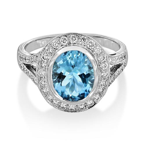 aquamarine ring 1.79ct. set with diamond in vintage ring smallest Image