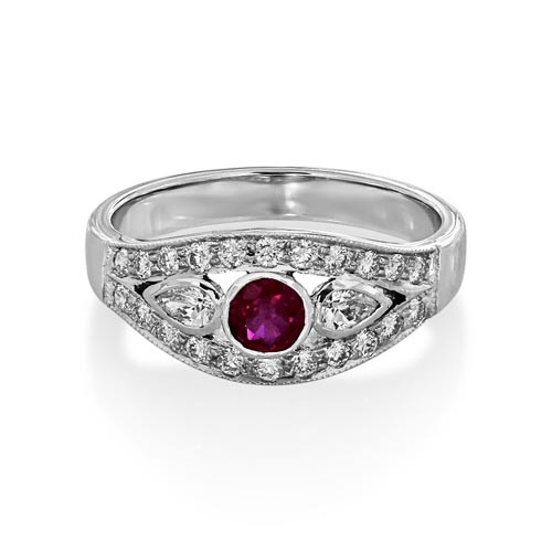 ruby ring 0.3ct. set with diamond in vintage ring smallest Image