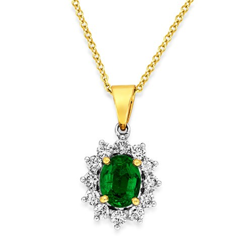 emerald pendant 0.95ct. set with diamond in cluster pendant smallest Image