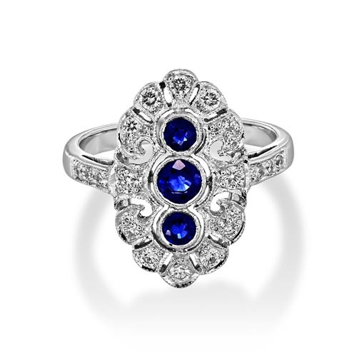 sapphire ring 0.56ct. set with diamond in vintage ring smallest Image