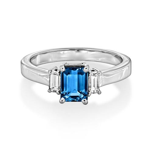 aquamarine ring 0.87ct. set with diamond in three stone ring smallest Image