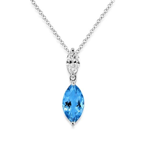 aquamarine pendant 0.78ct. set with diamond in solitaire pendant smallest Image