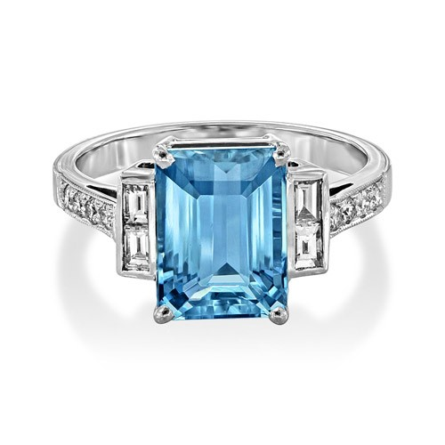 aquamarine ring 3.14ct. set with diamond in vintage ring smallest Image