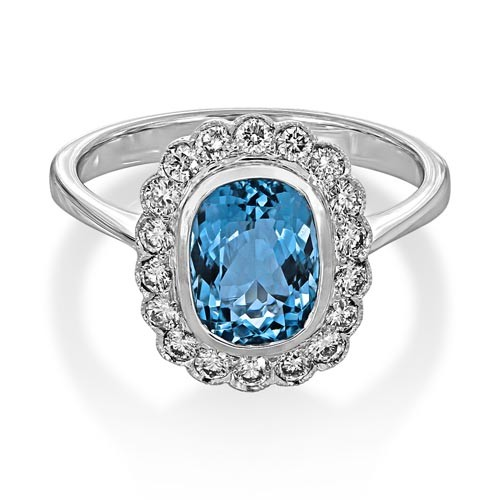 aquamarine ring 1.52ct. set with diamond in cluster ring smallest Image