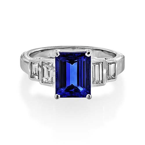tanzanite ring 2.41ct. set with diamond in five stone ring smallest Image