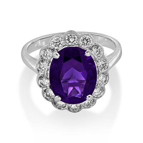 amethyst ring 2.81ct. set with diamond in cluster ring smallest Image