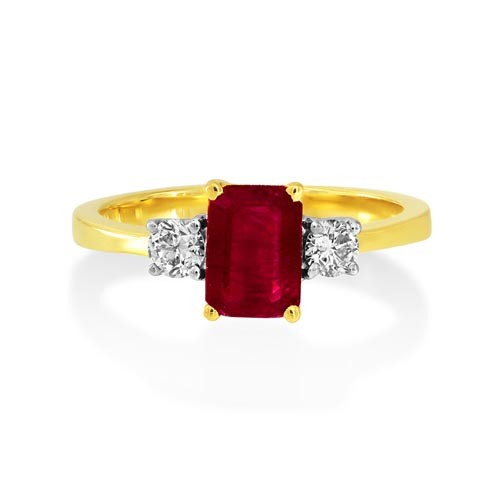 ruby ring 0.94ct. set with diamond in three stone ring smallest Image