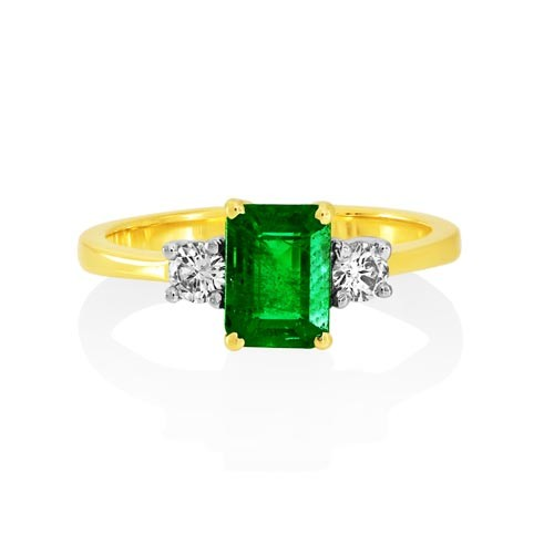 emerald ring 1.11ct. set with diamond in three stone ring smallest Image