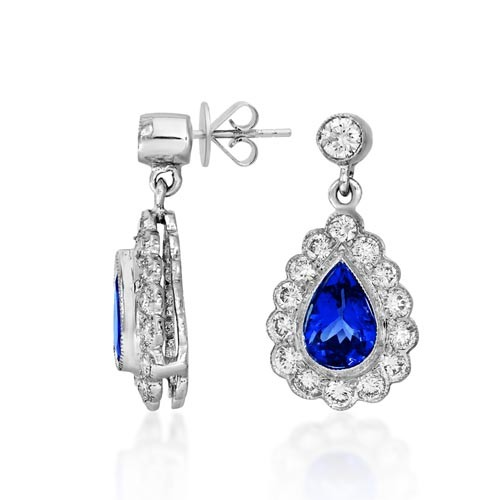 tanzanite earrings 1.43ct. set with diamond in drop earrings smallest Image