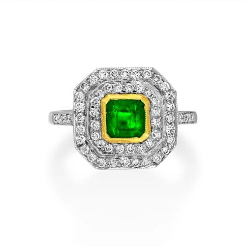 emerald ring 0.89ct. set with diamond in cluster ring smallest Image