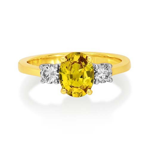 yellow sapphire ring 1.47ct. set with diamond in three stone ring smallest Image