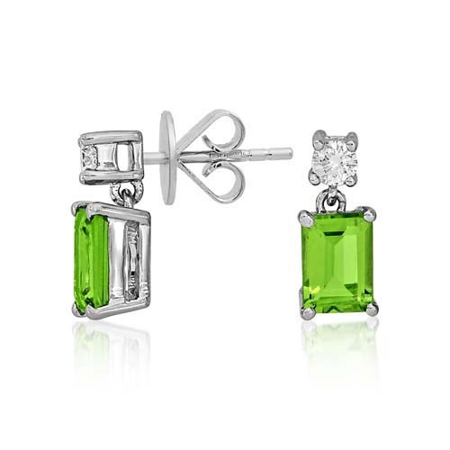 peridot earrings 2.07ct. set with diamond in drop earrings smallest Image