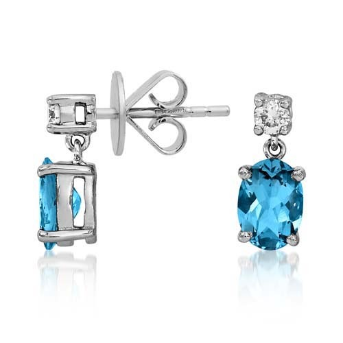aquamarine earrings 1.22ct. set with diamond in drop earrings smallest Image