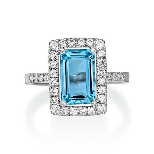 aquamarine ring 2.14ct. set with diamond in cluster ring smallest Image