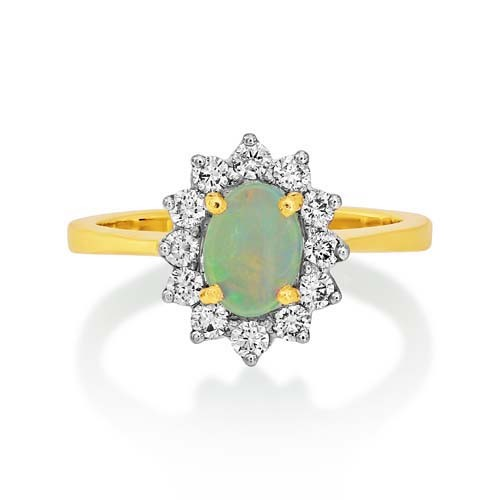 opal ring 0.46ct. set with diamond in cluster ring smallest Image