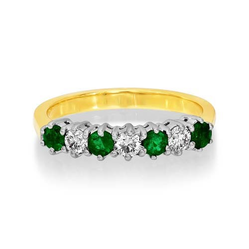 emerald ring 0.36ct. set with diamond in eternity ring smallest Image