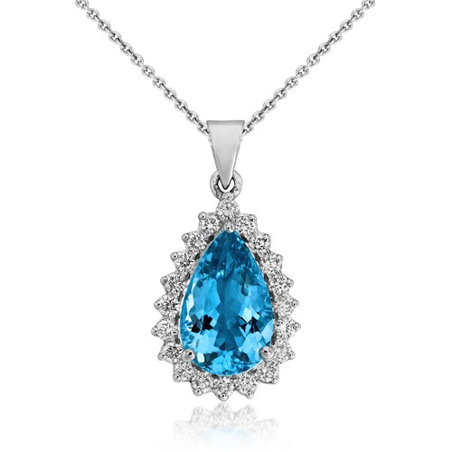 aquamarine pendant 3.34ct. set with diamond in cluster pendant smallest Image