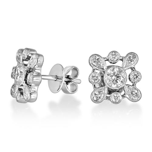 0.56ct. diamond earrings set with diamond in cluster earrings smallest Image