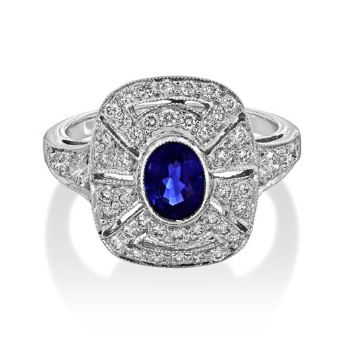 sapphire ring 1.03ct. set with diamond in vintage ring smallest Image