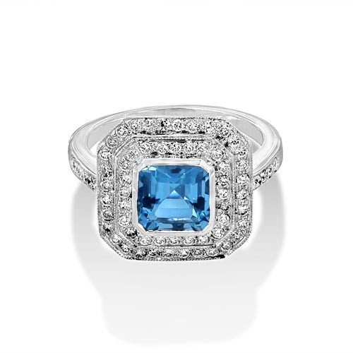 aquamarine ring 1.54ct. set with diamond in cluster ring smallest Image