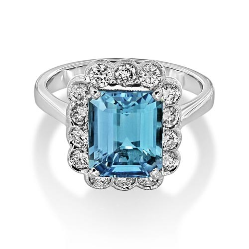 aquamarine ring 2.89ct. set with diamond in cluster ring smallest Image