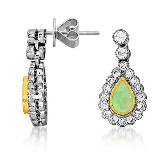 opal earrings 0.32ct. set with diamond in cluster earrings smallest Image