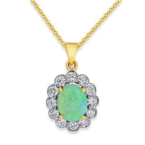 opal pendant 0.85ct. set with diamond in cluster pendant smallest Image