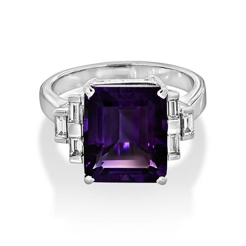 amethyst ring 6.13ct. set with diamond in seven stone ring smallest Image