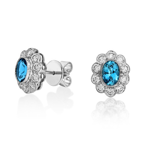 aquamarine earrings 0.74ct. set with diamond in cluster earrings smallest Image