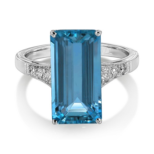 aquamarine ring 4.64ct. set with diamond in vintage ring smallest Image