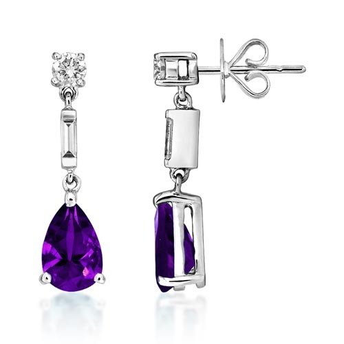 amethyst earrings 2.28ct. set with diamond in drop earrings smallest Image
