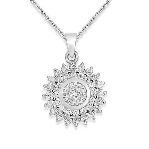 0.54ct. diamond pendant set with diamond in cluster pendant smallest Image