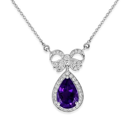 amethyst pendant 1.66ct. set with diamond in vintage pendant smallest Image